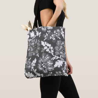 Vintage Gray And White Large Rustic Flower Pattern Tote Bag