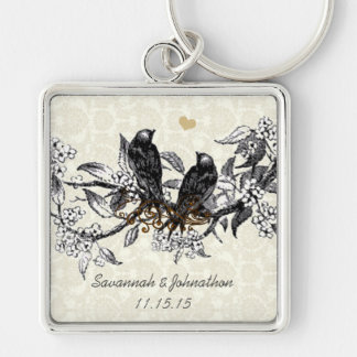 Vintage Gray Birds Hand Drawn Blooms Key Chain
