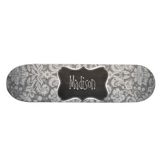 Vintage Gray Damask; Chalkboard look Skateboard