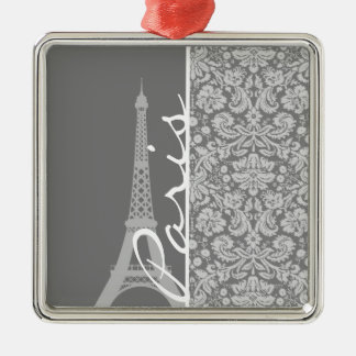 Vintage Gray Damask Paris Christmas Ornaments