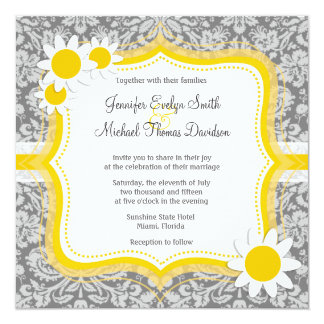 Vintage Gray Damask with Daisy 13 Cm X 13 Cm Square Invitation Card