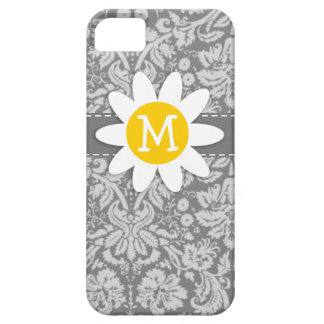 Vintage Gray Damask with Daisy iPhone 5 Cover