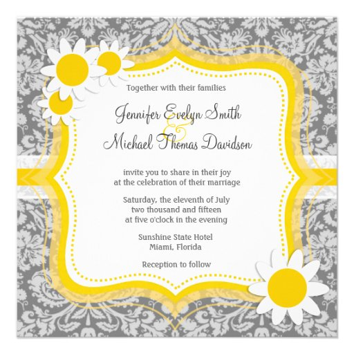 Vintage Gray Damask with Daisy Invite