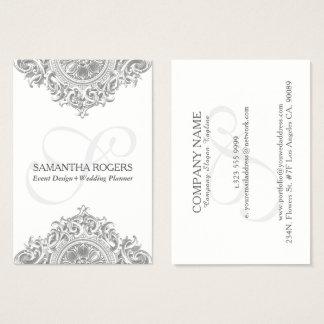 Vintage gray floral ornament business card