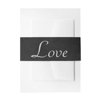 Vintage Gray Love Black Chalkboard Rustic Wedding Invitation Belly Band