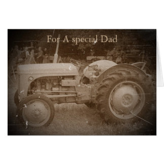 Vintage Gray massey fergison tractor photo sepia Card