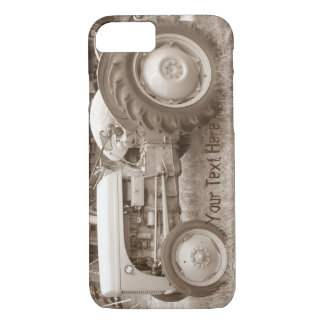 Vintage Gray massey fergison tractor photo sepia iPhone 8/7 Case