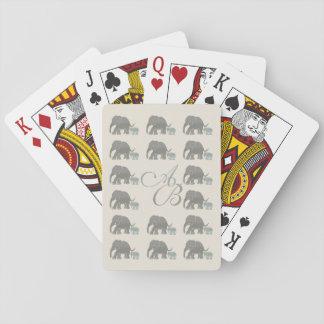 Vintage Gray on Ivory Monogram Elephant Pattern Playing Cards