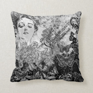 Vintage gray Victorian pillow