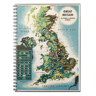 Vintage Great Britain Resources Map Notebooks