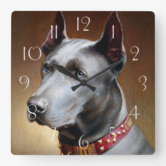 Vintage Great Dane Dog Square Wall Clock