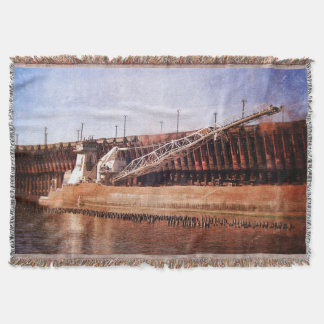 Vintage Great Lakes Freighter Throw Blanket