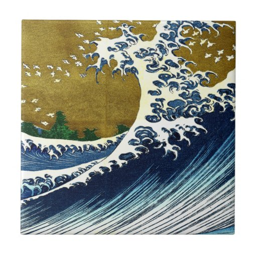 Vintage Great Wave Painting From 100 Views Of Fuji Ceramic Tiles