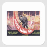 Vintage Greater Luna Park Square Stickers