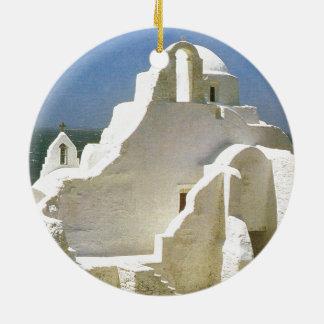 Vintage Greece, Myconos, Greek Orthodox Church Round Ceramic Decoration