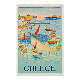 Vintage Greece Seascape Travel Art Print Print