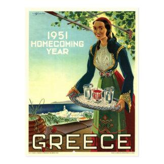 Vintage Greece Travel Islands Santorini Mykonos Postcard