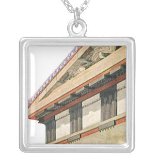 Vintage Greek Architecture, Temple of Athena Square Pendant Necklace