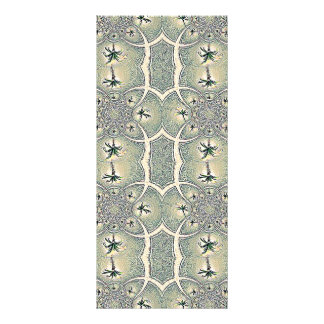 Vintage Green Abstract Flower Design Rack Card Template