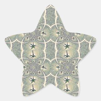 Vintage Green Abstract Flower Design Sticker