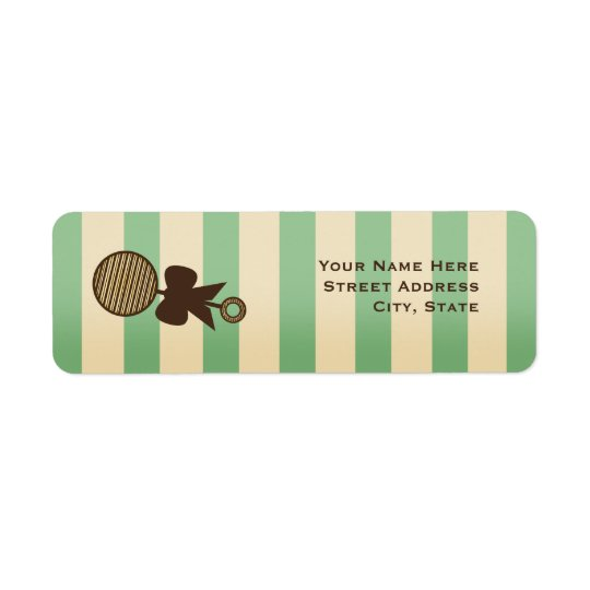 Vintage Green Baby Shower Rattle & Stripes Return Address Label