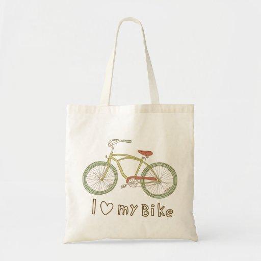 Vintage Green Bicycle I Love My Bike Tote Bag