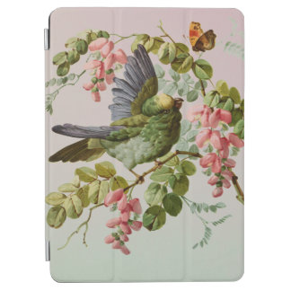 Vintage Green Bird and Pink Flowers iPad Air Cover
