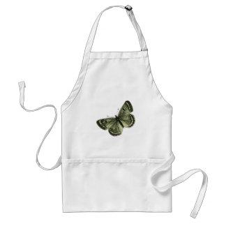 Vintage green butterfly illustration standard apron