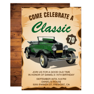 Vintage Green Car Classic Birthday Invitation