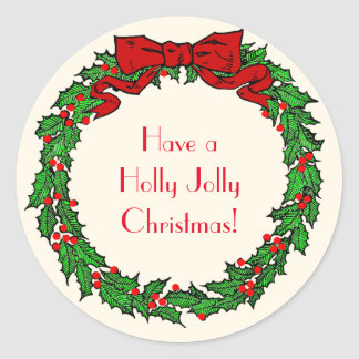 Vintage Green Christmas Holly Wreath with Red Bow Round Sticker