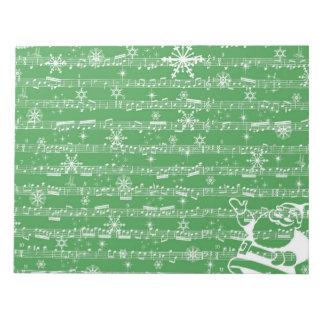 Vintage Green Christmas Musical Sheet Notepad