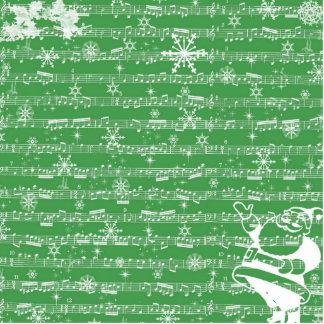 Vintage Green Christmas Musical Sheet Standing Photo Sculpture