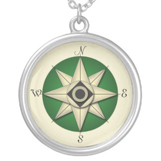 Vintage Green Compass Gold Necklace