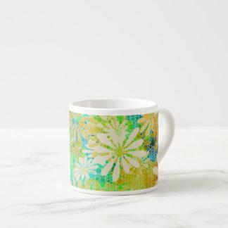 Vintage Green Cream Abstract Espresso Mug