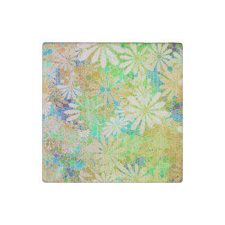 Vintage Green Cream Abstract Stone Magnet