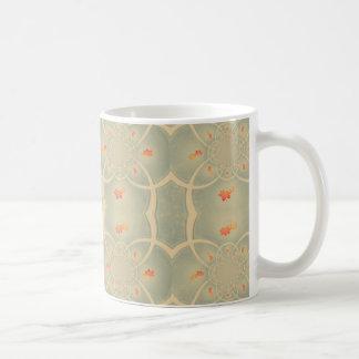 Vintage Green Cream Damasc Pattern Mug