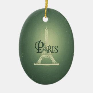 Vintage Green Eiffel Tower Paris Design Ceramic Oval Decoration