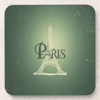 Vintage Green Eiffel Tower Paris Design Beverage Coaster