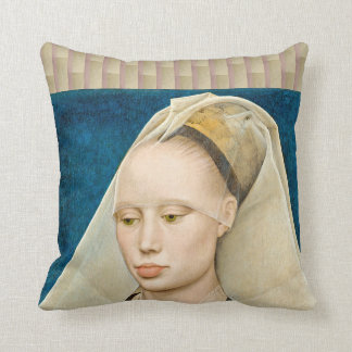 Vintage Green-Eyed Beauty: Portrait of a Lady Cushion