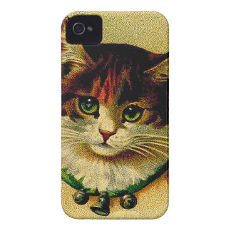 Vintage Green-Eyed Cat with Jingle Bells iPhone 4 Case-Mate Case