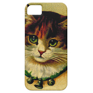 Vintage Green-Eyed Cat with Jingle Bells iPhone 5 Covers