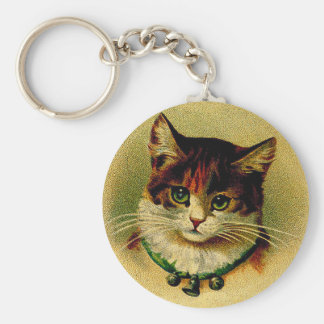 Vintage Green-Eyed Cat with Jingle Bells Key Ring