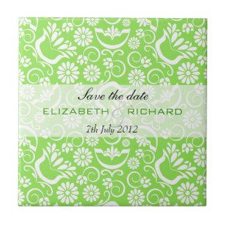 Vintage green floral Save the date Tile