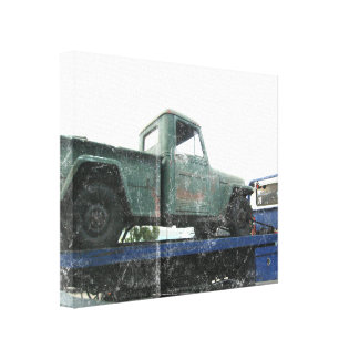Vintage Green Jeep Gallery Wrapped Canvas