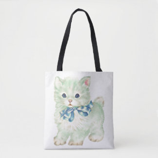 Vintage Green Kitty Cat Tote Bag