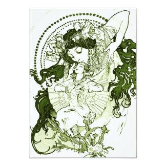 Vintage green lady art invitations
