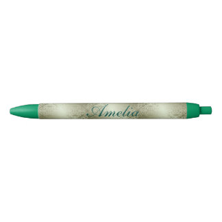 vintage,green,metallic,damask,pattern,chic,elegant black ink pen