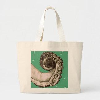 Vintage Green Nautical Octopus Tentacle Tote Bag