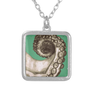 Vintage Green Nautical Octopus Tentacle Silver Plated Necklace