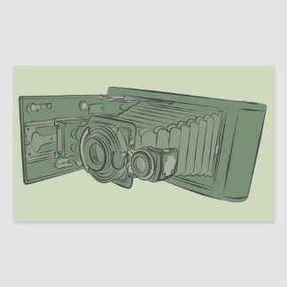 Vintage Green Old Photo Camera Rectangular Sticker